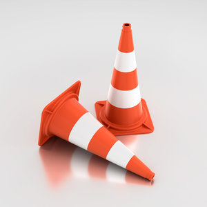 road warning sign cone 3D model