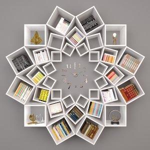 decorative bookshelf 3D model