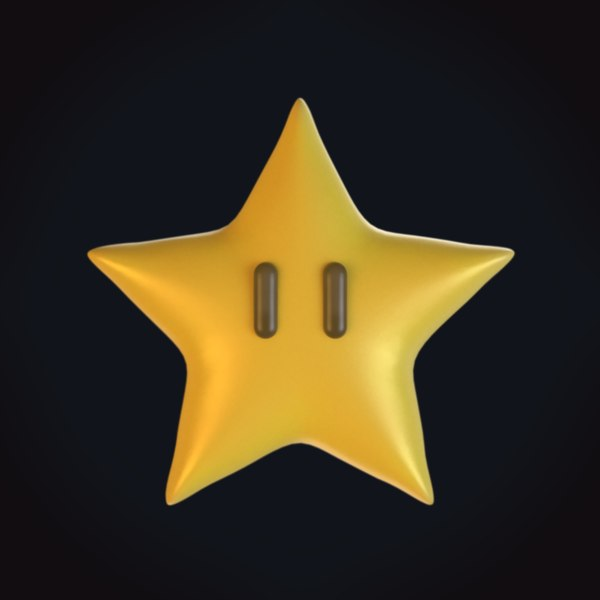 mario invincibility star power 3D model