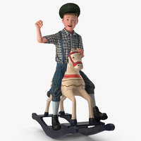 Vintage Rocking Horse with Child Boy Rigged 3D Model