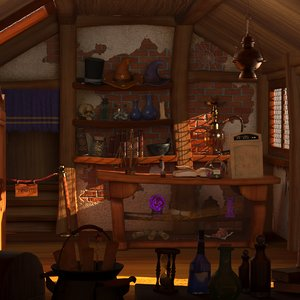 3D model cartoon magical shop