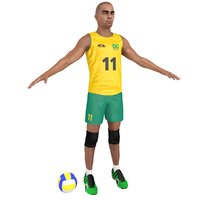 3D volleyball player ball