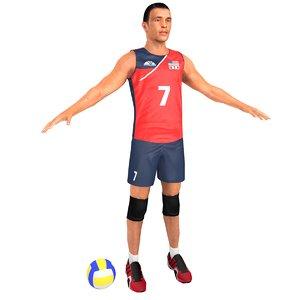 volleyball player ball 3D model