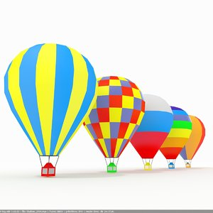 air balloons slylized low-poly 3D model