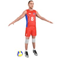 3D volleyball player ball model