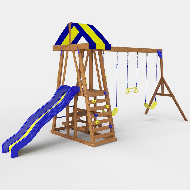 yukon iii wooden swing set 3D model
