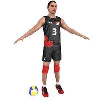 volleyball player ball 3D