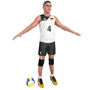 3D model volleyball player ball