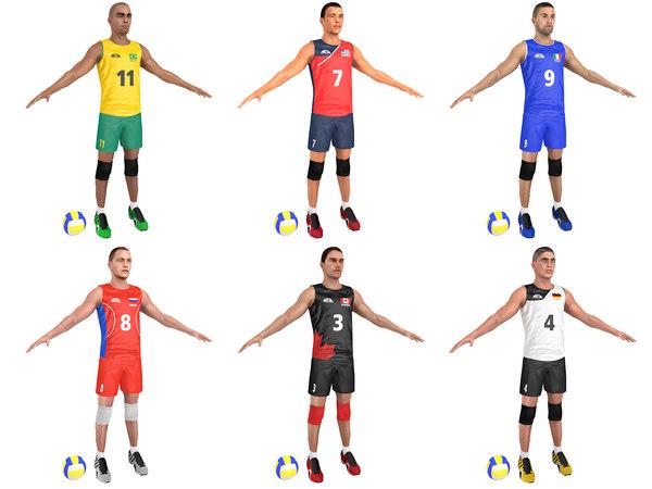 3D pack volleyball player ball