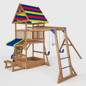 beach wooden swing set 3D