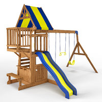 peninsula wooden swing set 3D