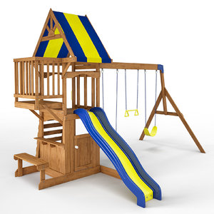 peninsula wooden swing set 3D
