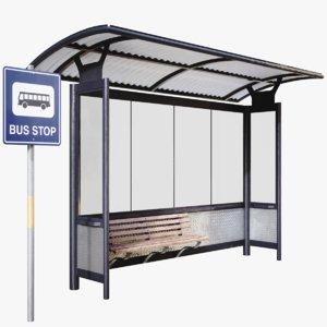 lightwave bus stop 3D model