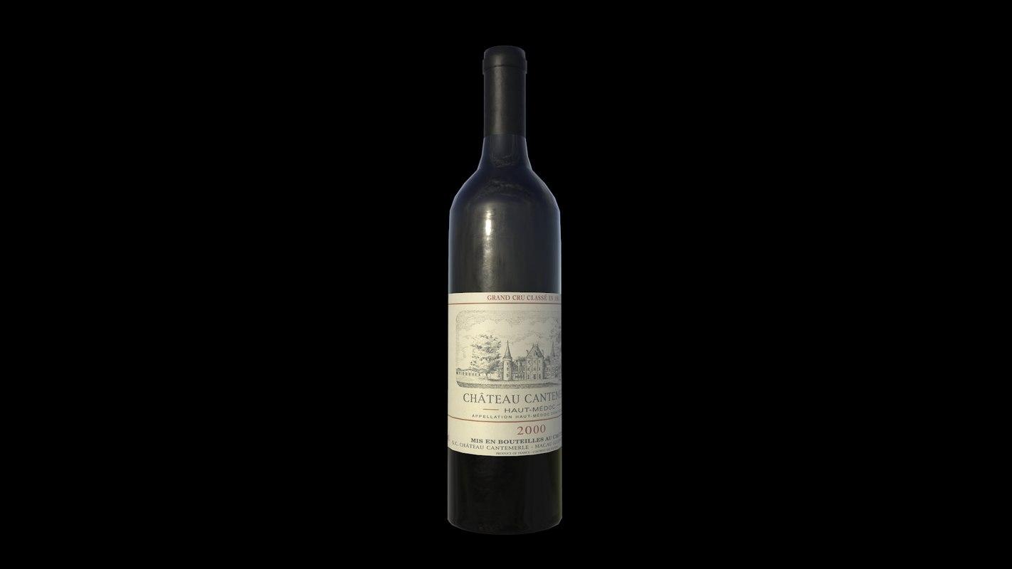 3D bottle wine model