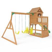 atlantis wooden swing set 3D
