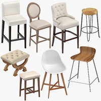 stools bar classical 3D model