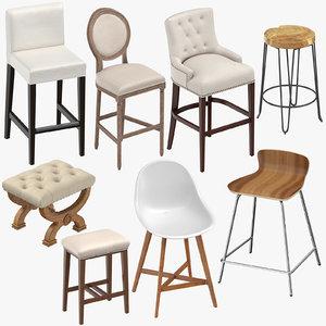 stools bar classical 3D model