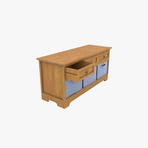 3D wooden cabinet fabric baskets model