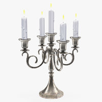 silver candlestick candles model