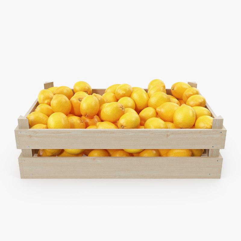 lemon wooden crate 3D model