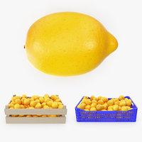 3D lemons v-ray plastic