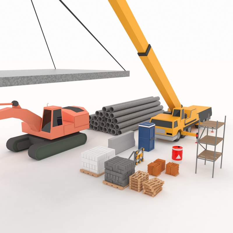building machinery materials stylized 3D model