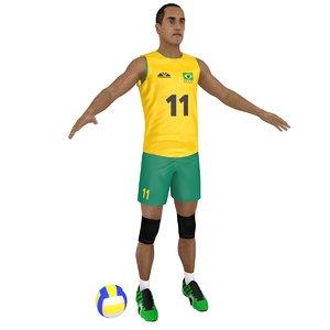 3D volleyball player ball model