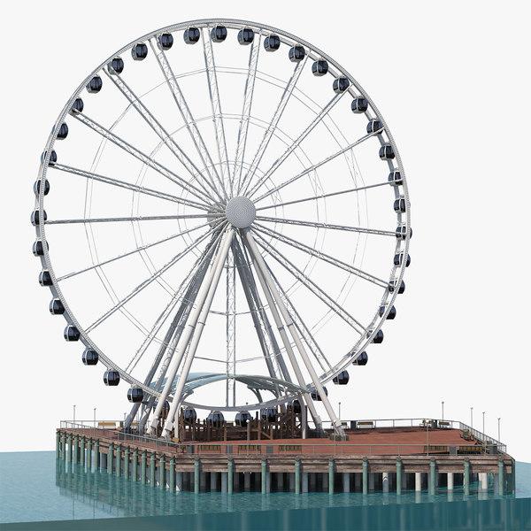 3D model seattle great ferris wheel