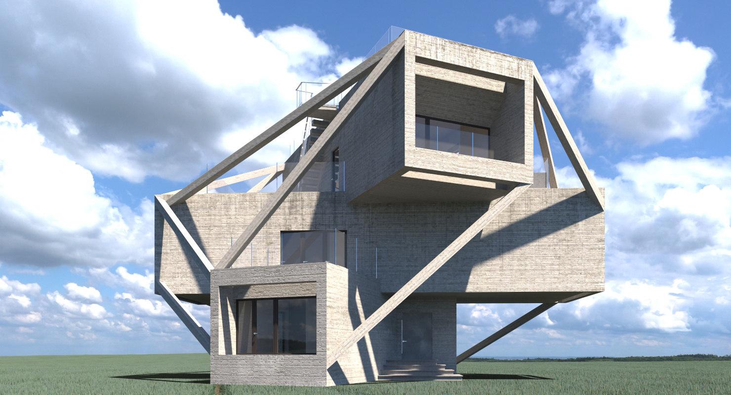 modern walls 3D model