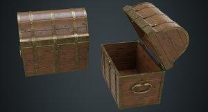 3D model wooden chest 1b