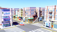 best town stylized buildings 3D
