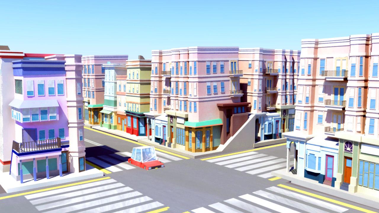 best town stylized buildings 3D