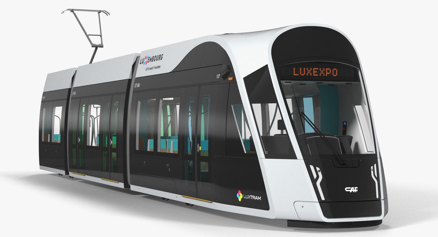 3D luxembourg tram urbos model