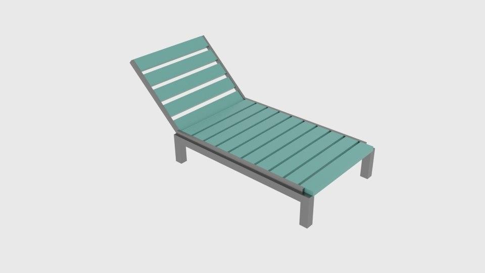 3D lounge pool chair