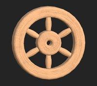 3D wooden wheel model
