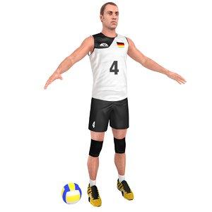 3D volleyball player ball
