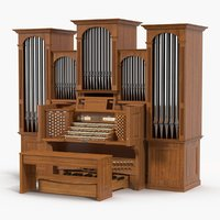3D church pipe organ model