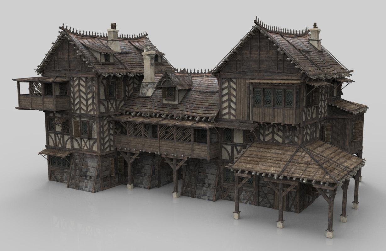 medieval house fantasy building 3D