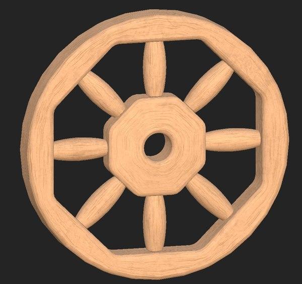 wooden wheel 3D