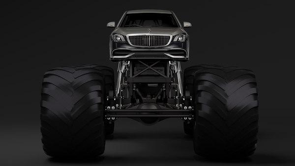 3D monster truck mercedes maybach model
