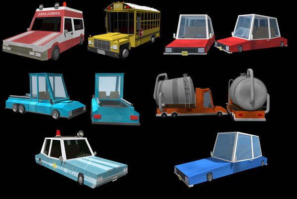 3D model vehicles ambulance police