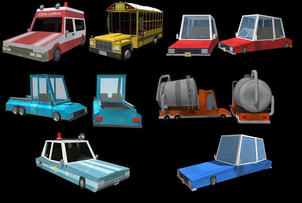 3D model vehicles ambulance police