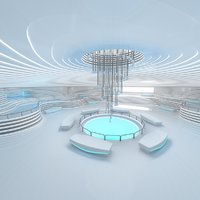 sci-fi exhibition room design 3D model