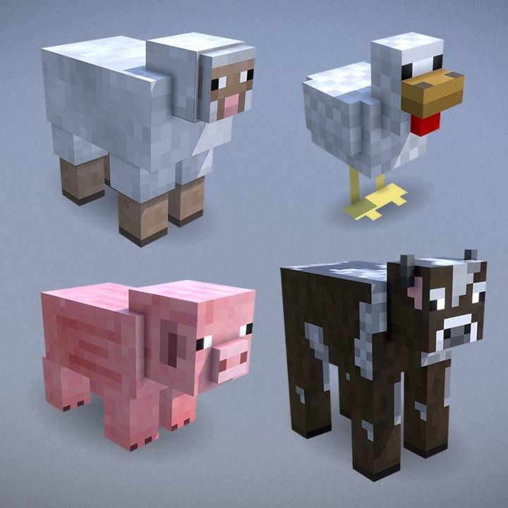 3D minecraft mobs - cow