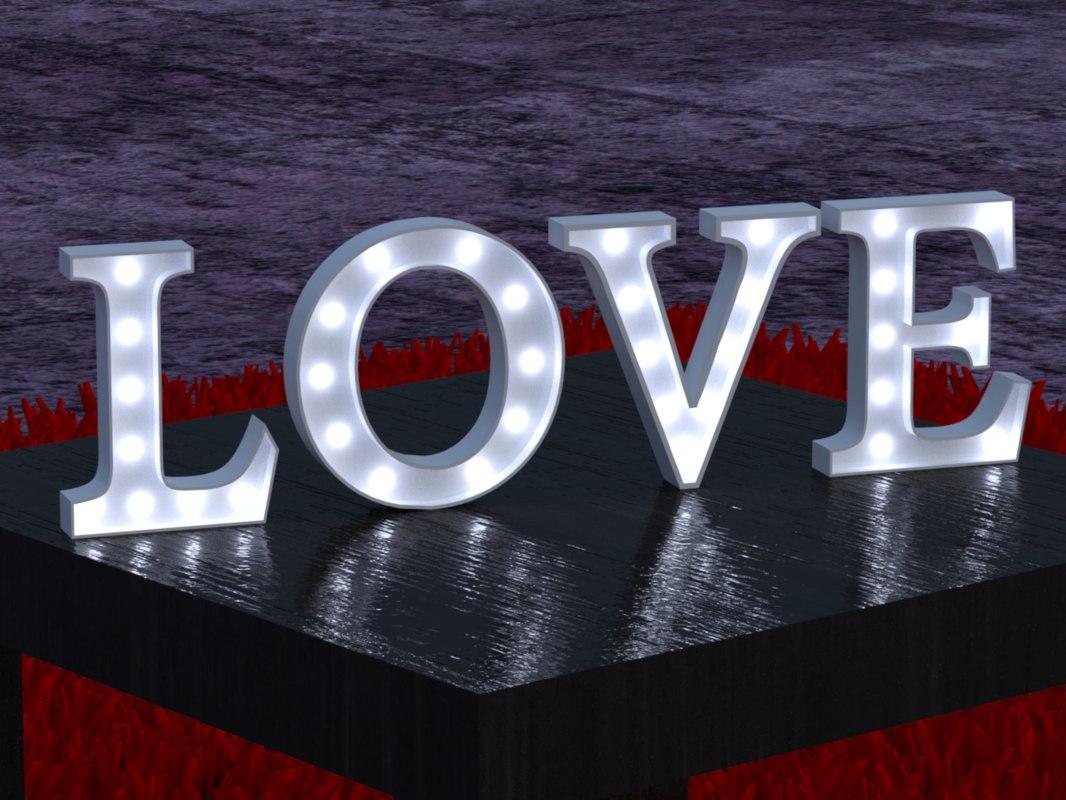 3D text letrero love model