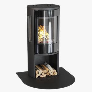 3D realistic fireplace braskamin contura model