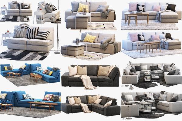 ikea kivik sofas set 3D model