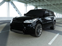 3D black range rover sport model