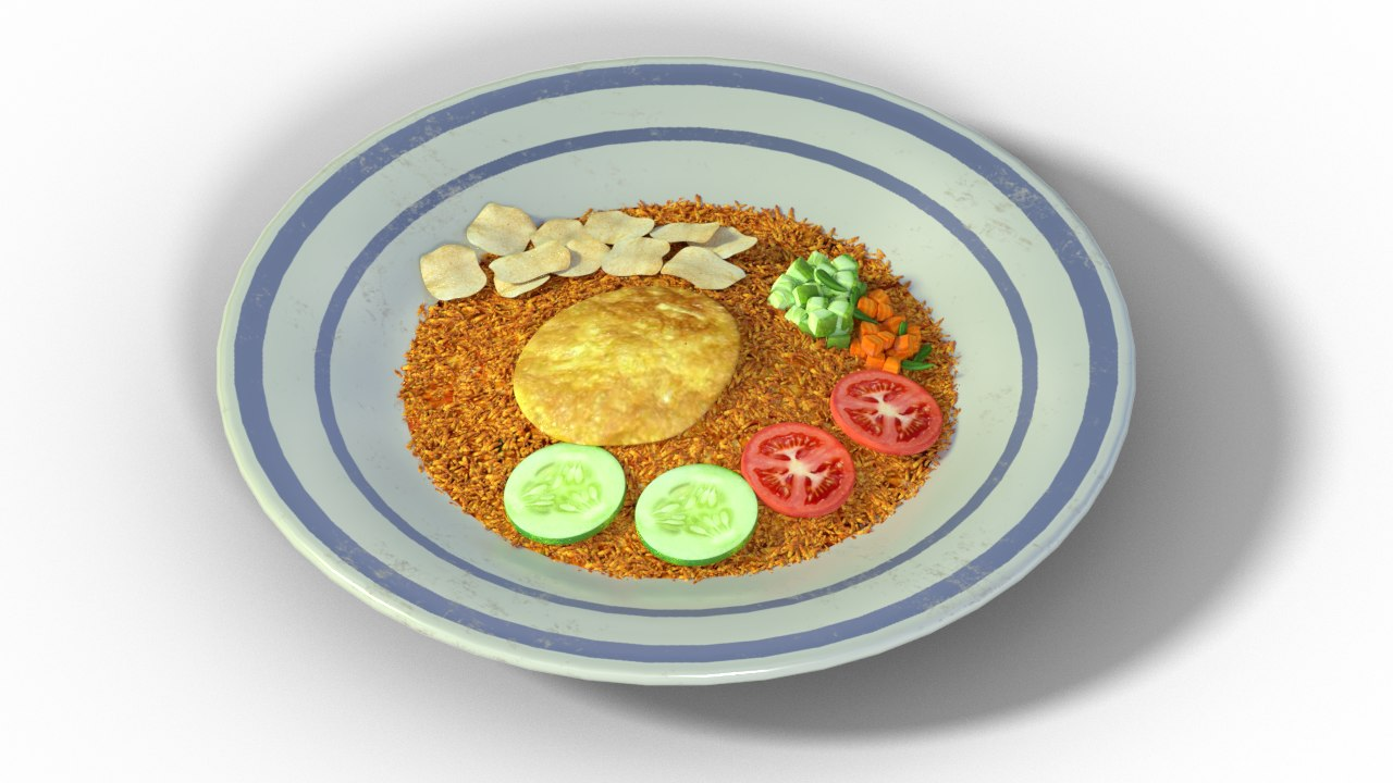 rice fried food indonesia 3D model