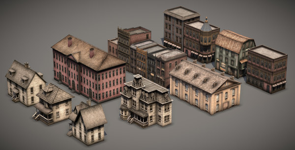 victorian old style buildings 3D
